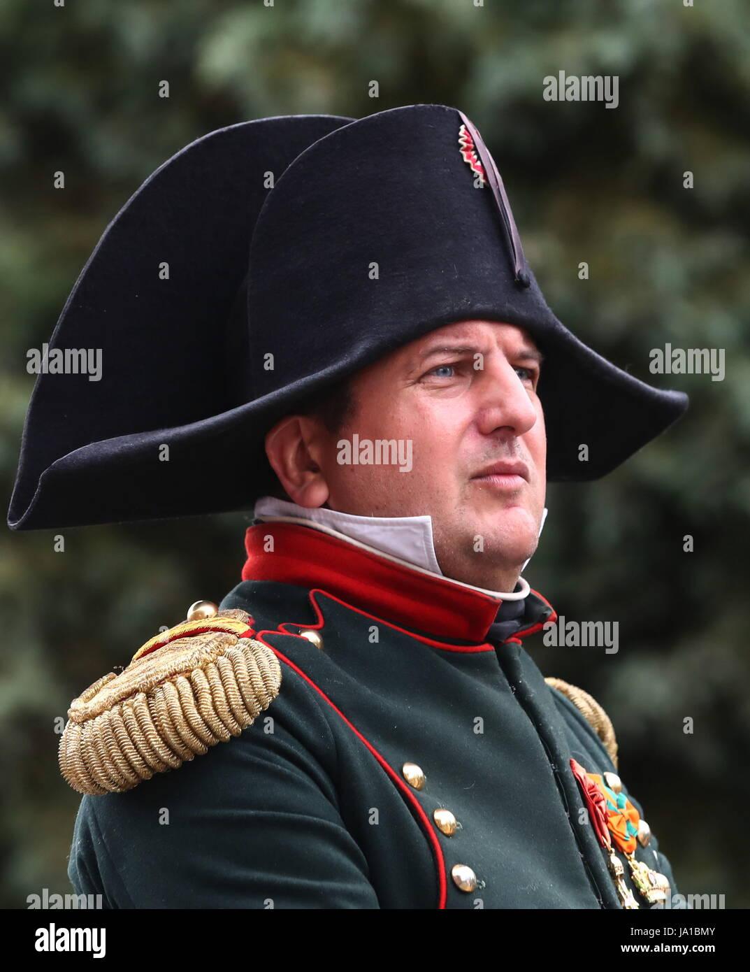 Ligny, Belgium. 3rd June, 2017. A man enacting Napoleon takes part in the re-enactment of the Battle of Ligny, in - Stock Image