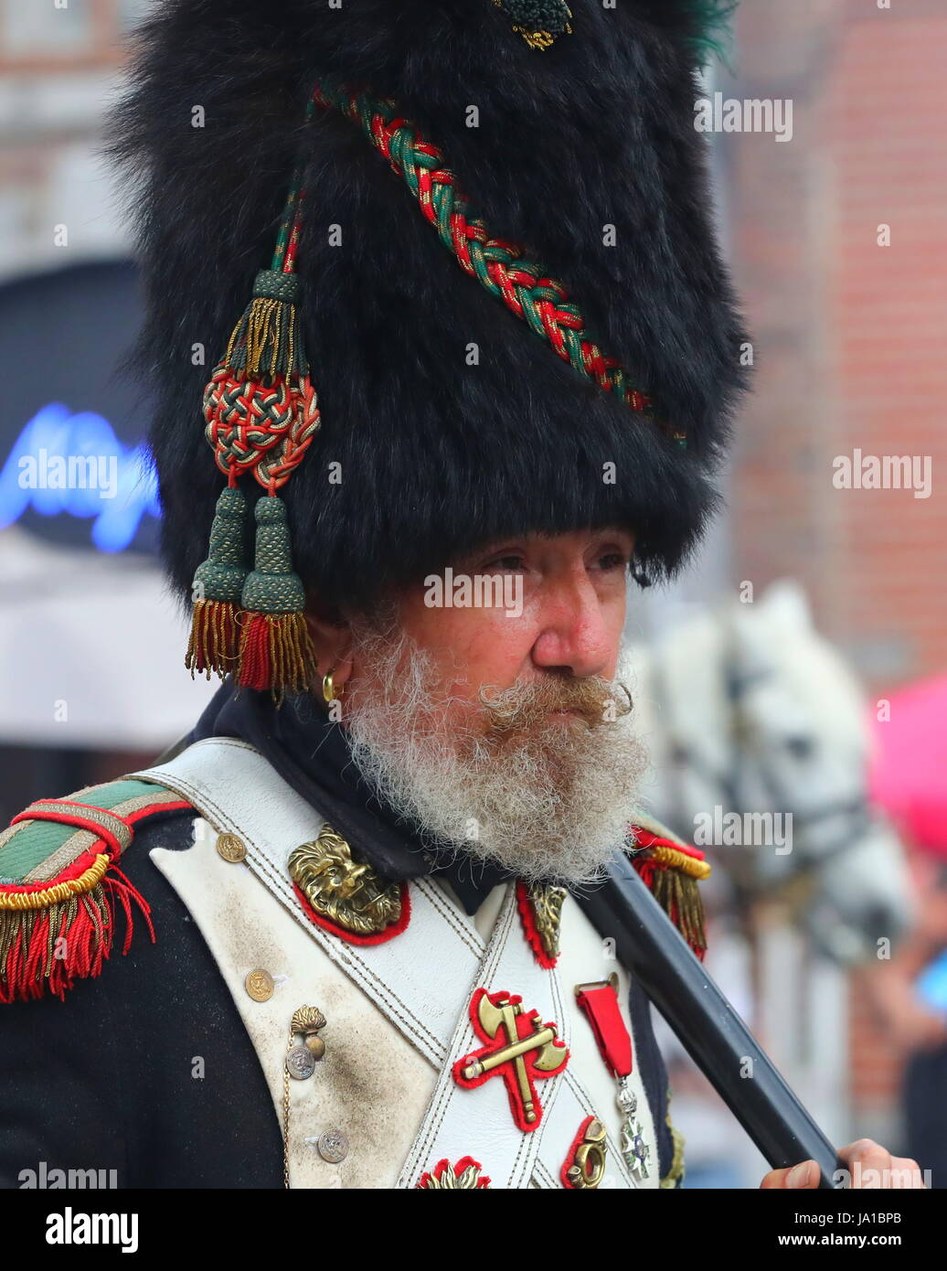 Ligny, Belgium. 3rd June, 2017. A participant takes part in the re-enactment of the Battle of Ligny, in Ligny, Belgium, - Stock Image