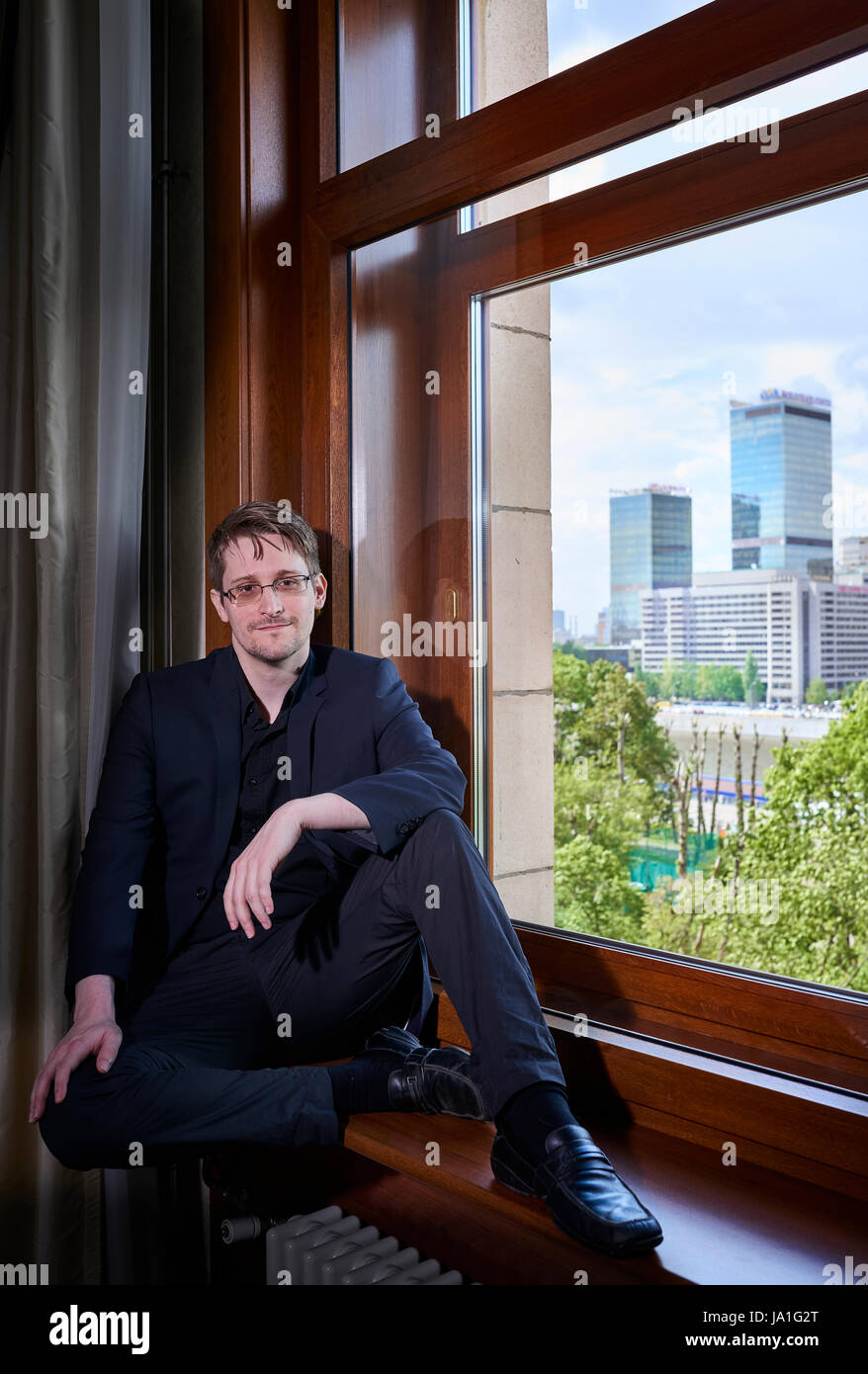 Edward Snowden in exile life in Moscow for exclusive interview with Kyodo News Japan - Stock Image