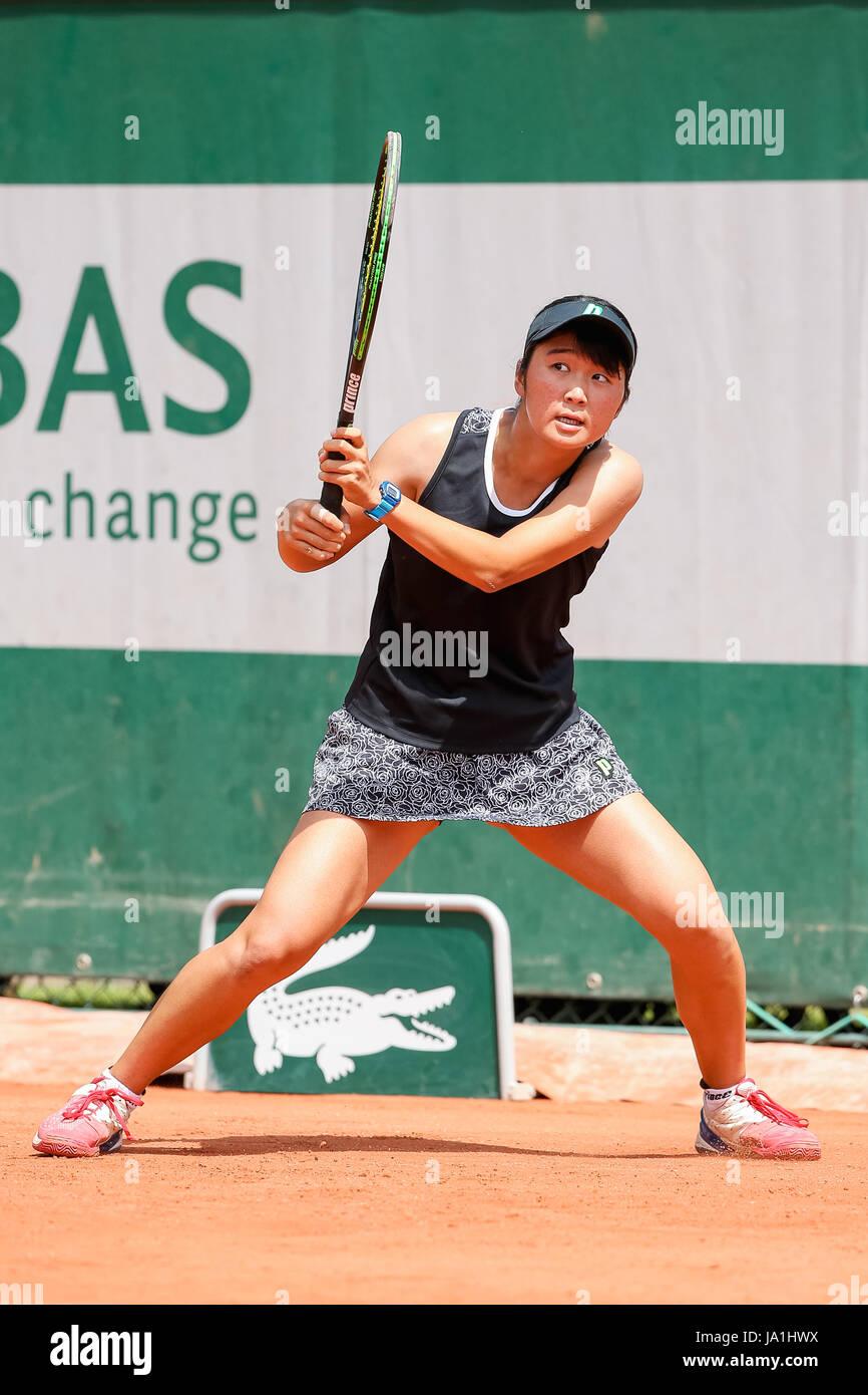 Paris, France. 4th June, 2017. Anri Nagata (JPN) Tennis : Anri Nagata of Japan during the Girl's singles first round Stock Photo