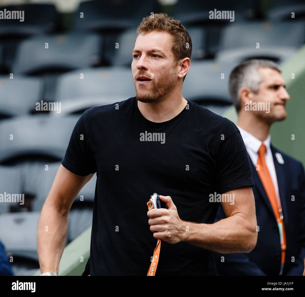 Paris, France, June 4th 2017: NBA-Pro David Lee  during the 4th round match of his girlfriend Caroline Wozniackis Stock Photo