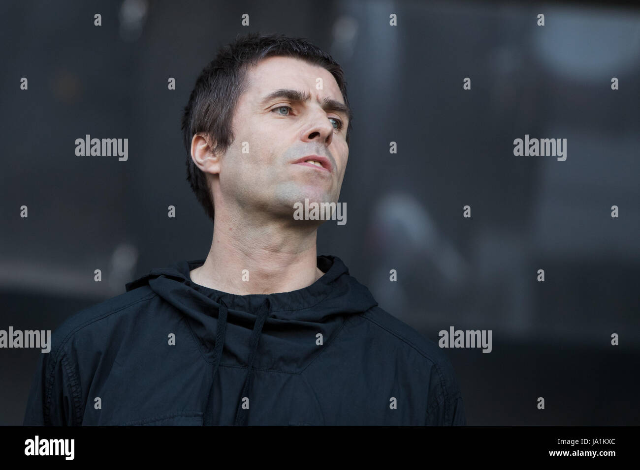 Nuremberg, Germany. 4th June, 2017. British singer Liam Gallagher performing at the Rock im Park music festival - Stock Image
