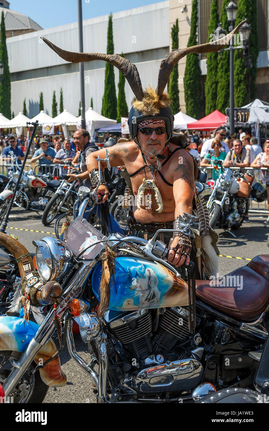 BARCELONA, SPAIN - JULY 06: Unidentified persons with typical biker