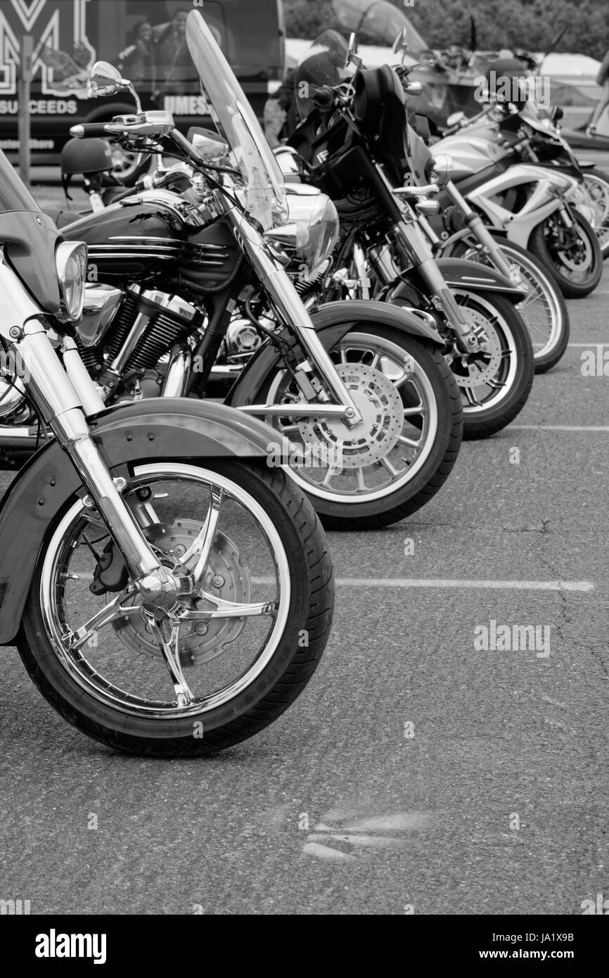 Motorcycles, parked - black & white - Stock Image