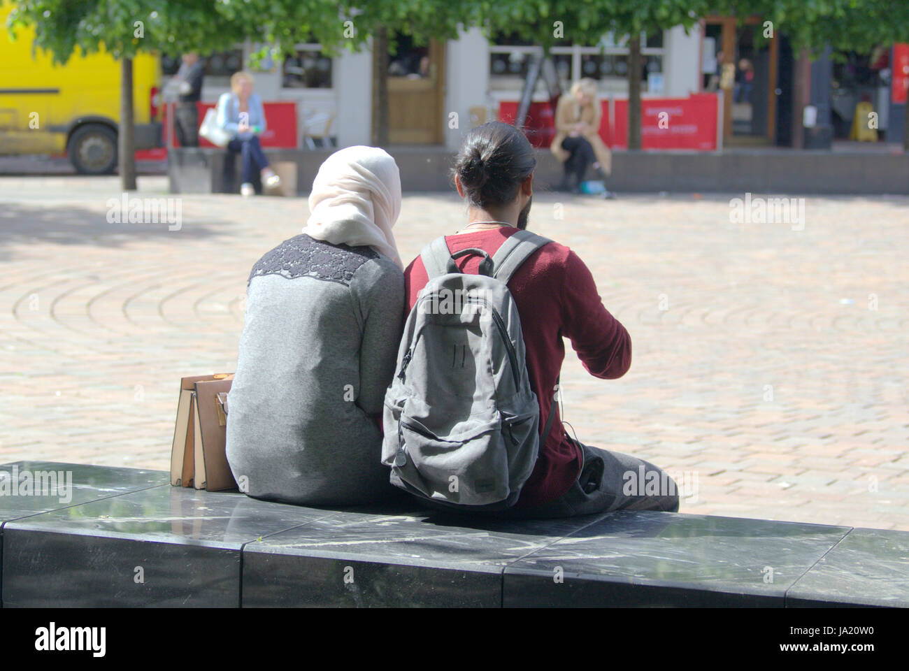 hijab scarf wearing Muslim on British street - Stock Image