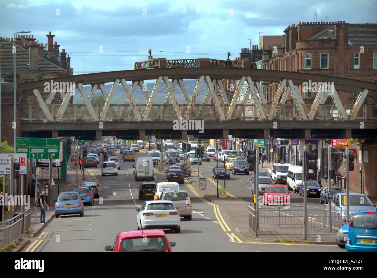 Great Western Road railway station bridge at Anniesland Cross Glasgow Scotland street scene high viewpoint - Stock Image