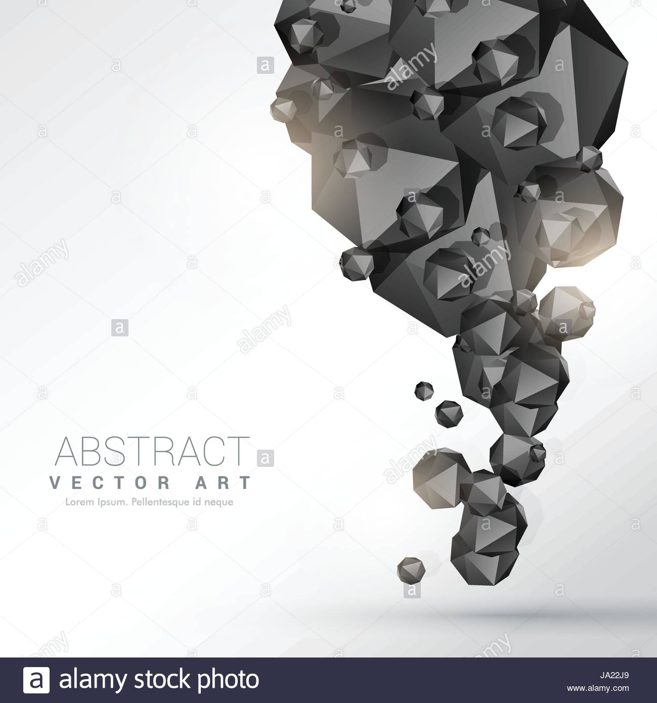 abstract black polyhedron particles background - Stock Image