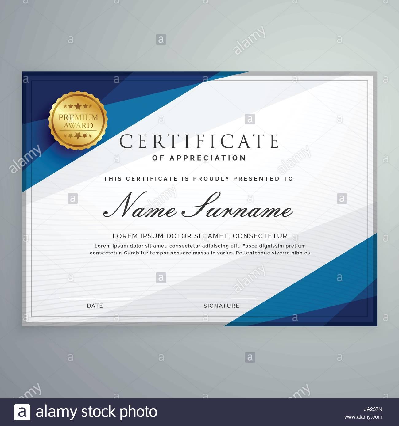 Elegant White And Blue Certificate Diploma Template Stock Vector Art