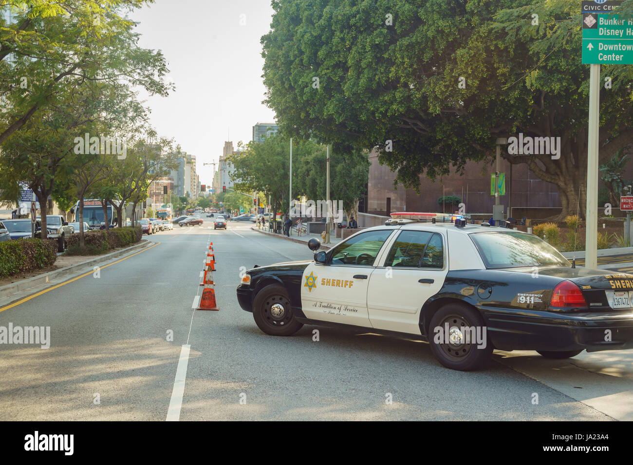 Los Angeles, APR 11: Sheriff car on the road on APR 11, 2017 at Los Angeles Stock Photo