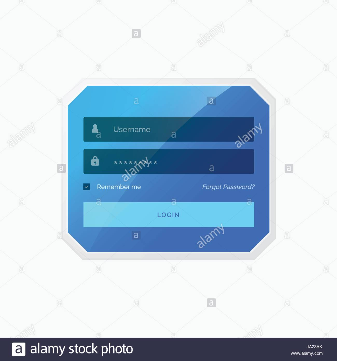 Blue Login Form Template Design Stock Photos Blue Login Form