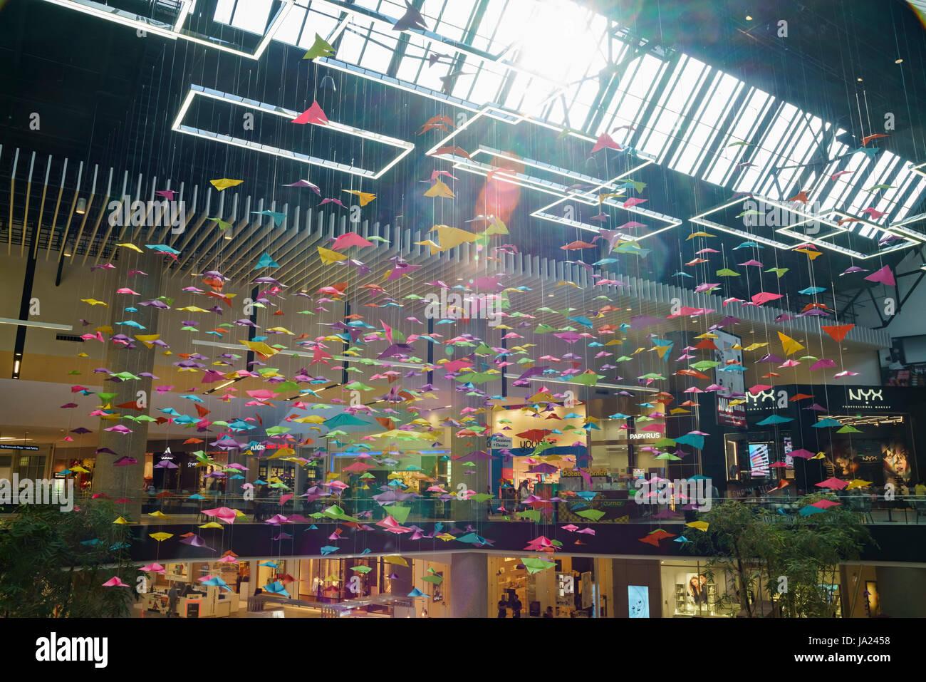 Los Angeles, APR 13: The beautiful colorful paper art of Santa Anita Mall on APR 13, 2017 at Los Angeles, California - Stock Image