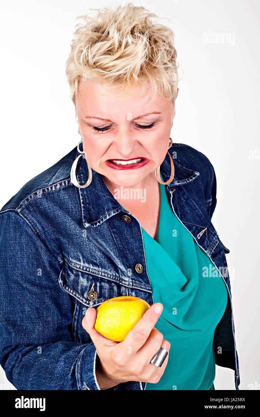 woman, mouth, face, juice, sour, grimace, lemon, citron, forgiven, woman, Stock Photo