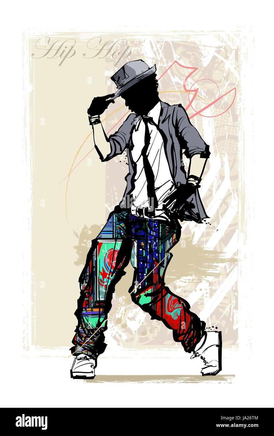 Hip hop dancer on grunge background - vector illustration Stock Vector