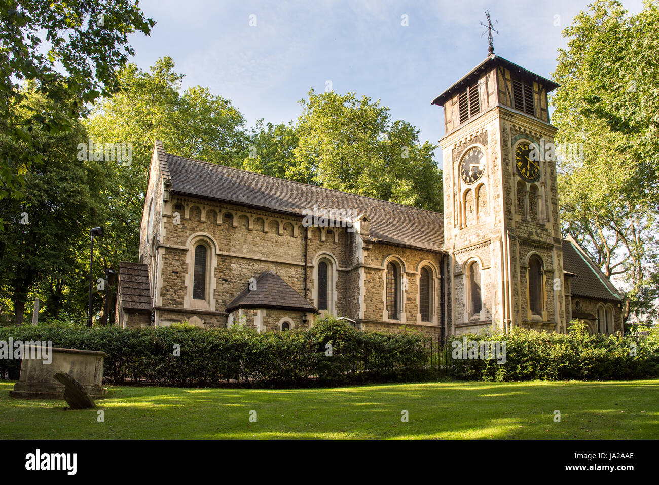 London, England - July 25, 2016: St Pancras Old Church in Camden, north London. - Stock Image