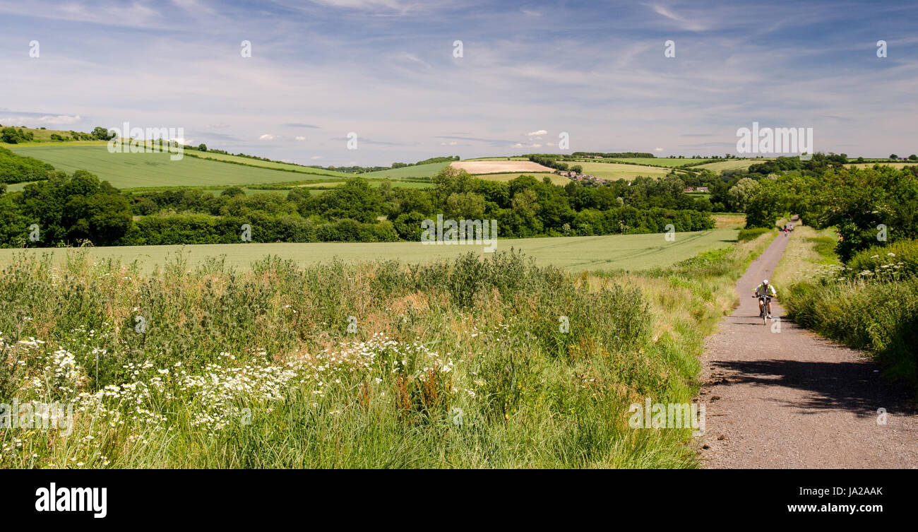 Cyclists ride on the North Dorset Trailway cycleway and footpath which follows the route of the disused Somerset - Stock Image