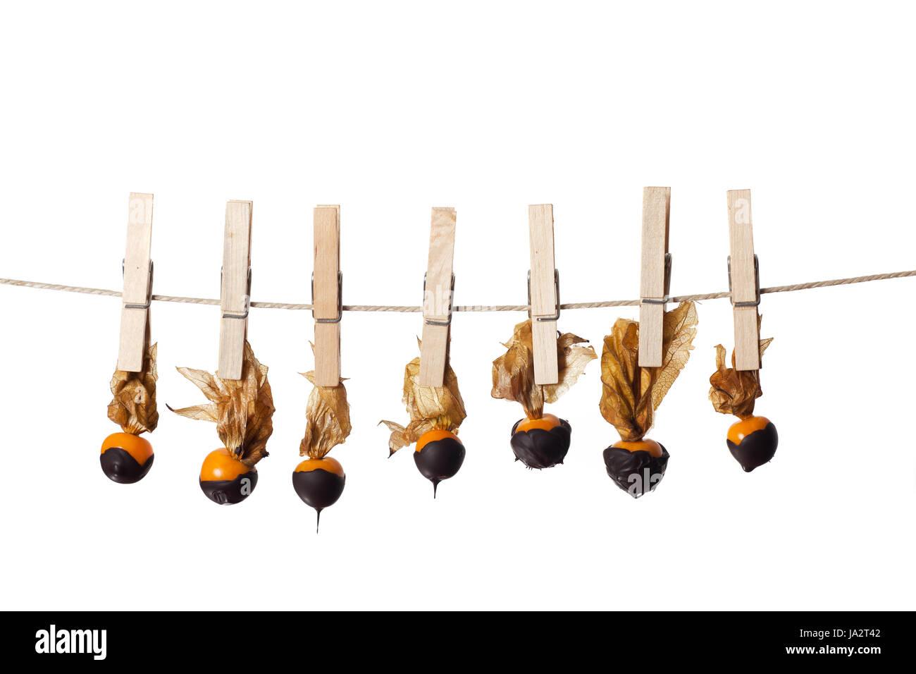 fruit, gooseberry, overdrawn, dessert, chocolate, sweetly, brown, brownish, - Stock Image