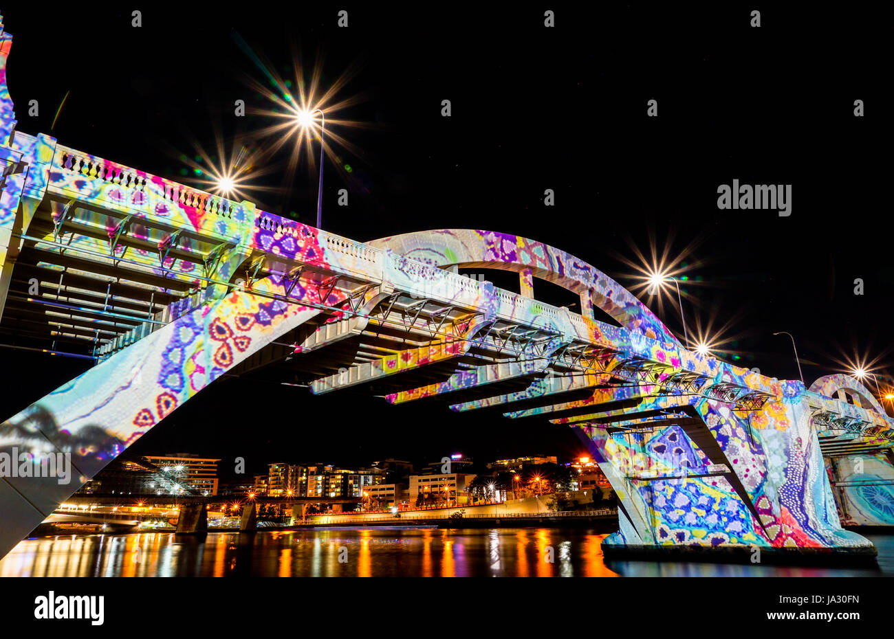William Jolly bridge with Aboriginal dotted painting projected - Stock Image