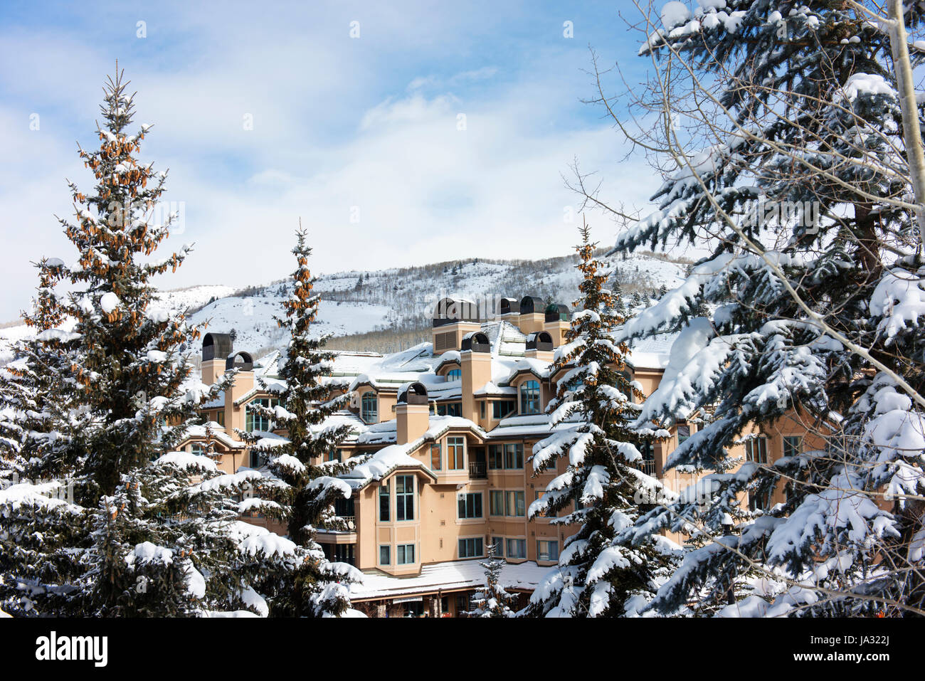 Holiday apartments at Beaver Creek, a ski resort near Avon, Colorado. - Stock Image