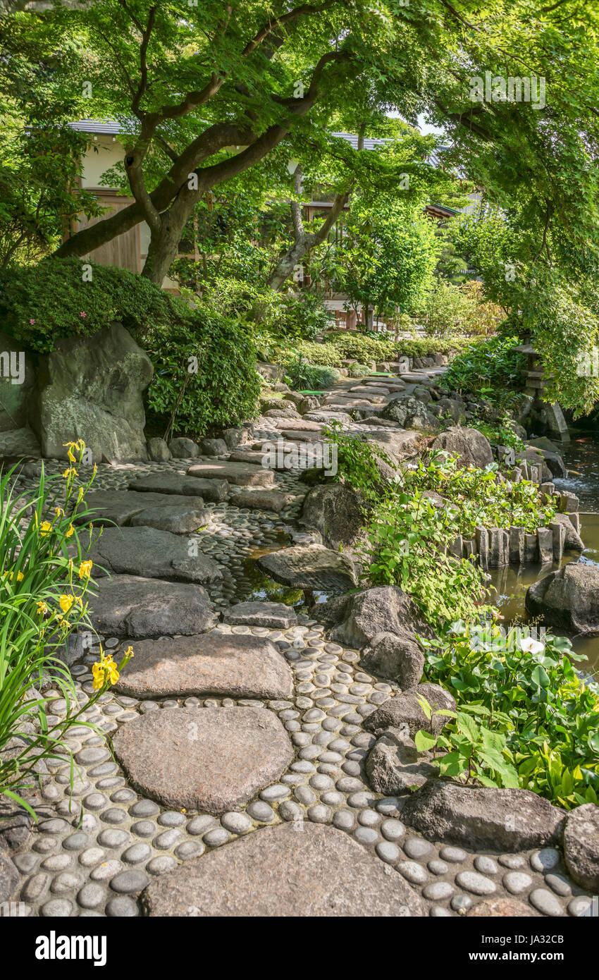 Garden path at the Hase-dera temple, commonly called the Hase-kannon, one of the Buddhist temples in Kamakura, Kanagawa - Stock Image