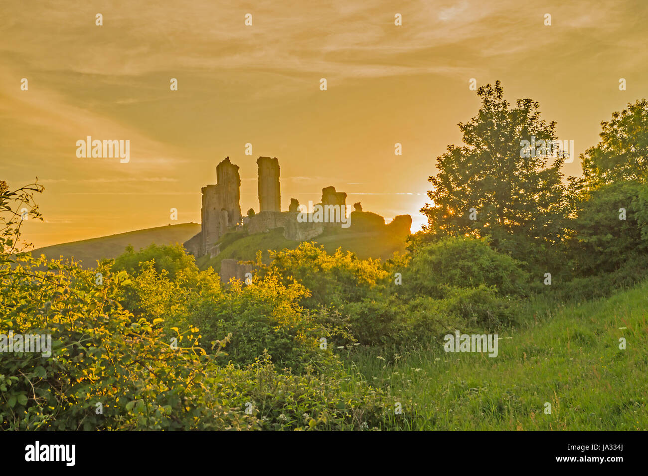 Corfe Castle silhouetted in a golden  Sunset - Stock Image