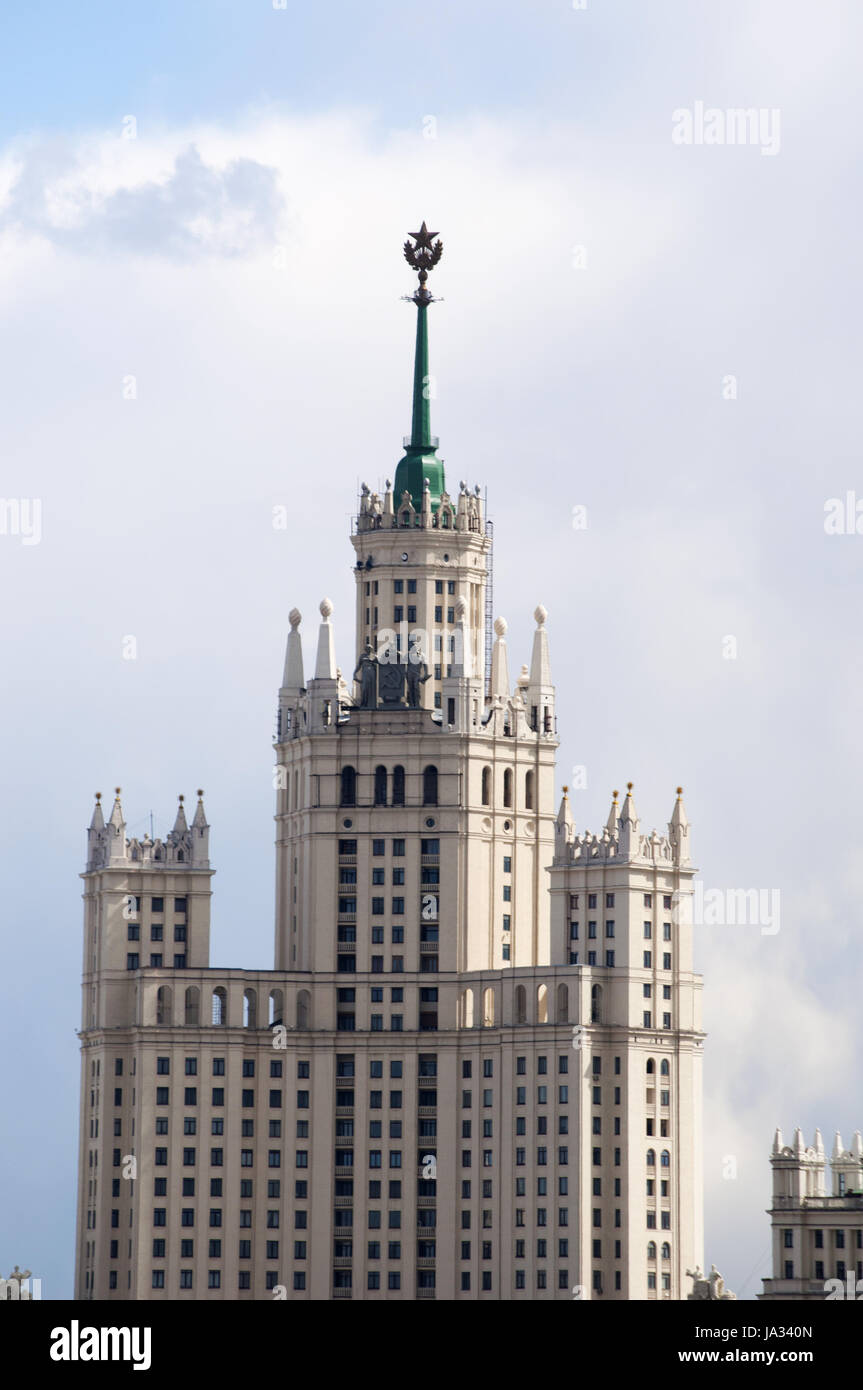Moscow, Russia: view of the Kotelnicheskaya Embankment Building, one of the Seven Sisters group of skyscrapers designed in in the Stalinist style Stock Photo