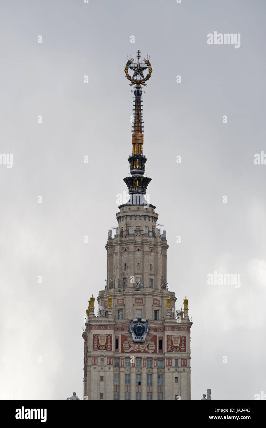 Moscow State University, one of the Seven Sisters skyscrapers designed in the Stalinist style, built from 1947 to 1953 in Baroque and Gothic style Stock Photo