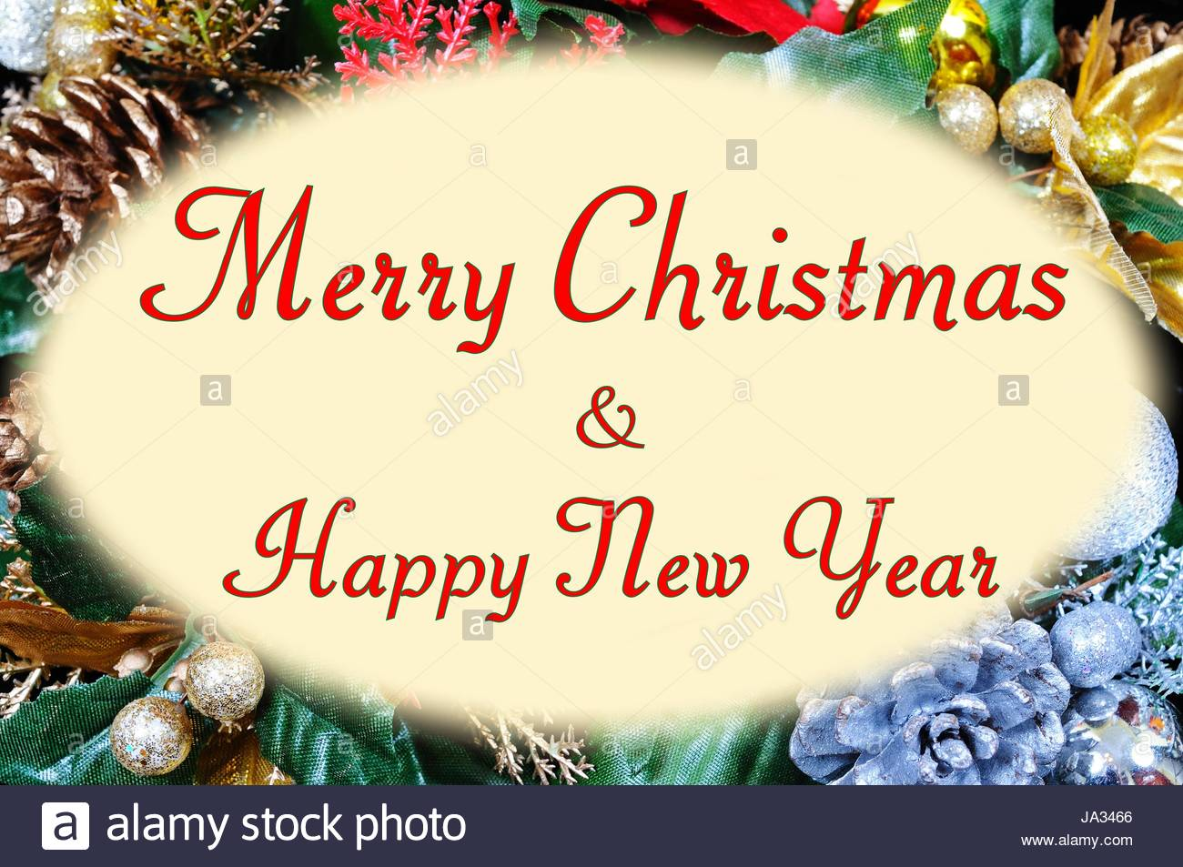 Merry Christmas And Happy New Year Message In An Oval Frame Set