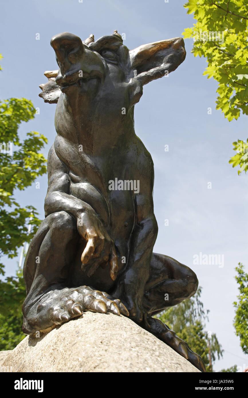 statue, resin, uncanny, wild boar, pig, myth, saw, devil, devils, bodetal, - Stock Image
