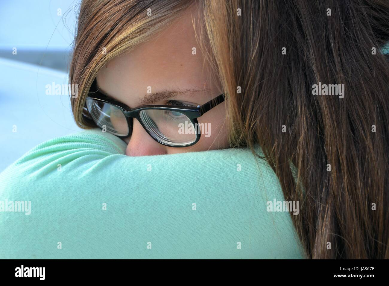 meditative, teen, meditate, boring, teenager, lovelorn, puberty, reflexion, Stock Photo