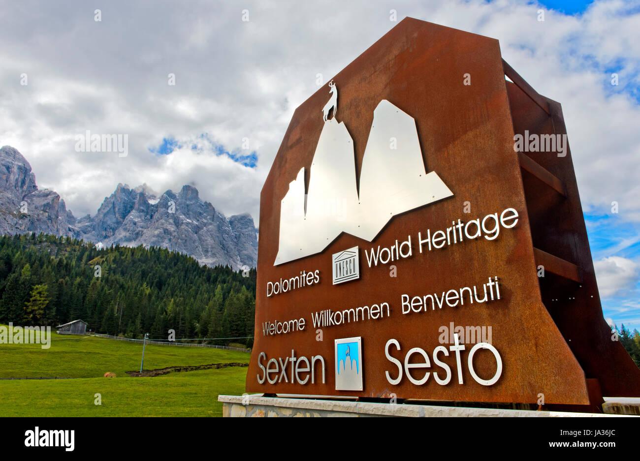 Entrance to the UNESCO World Heritage Site - Dolomites of Sesto Nature Park, Sesto, South Tyrol, Trentino-Alto Adige, - Stock Image