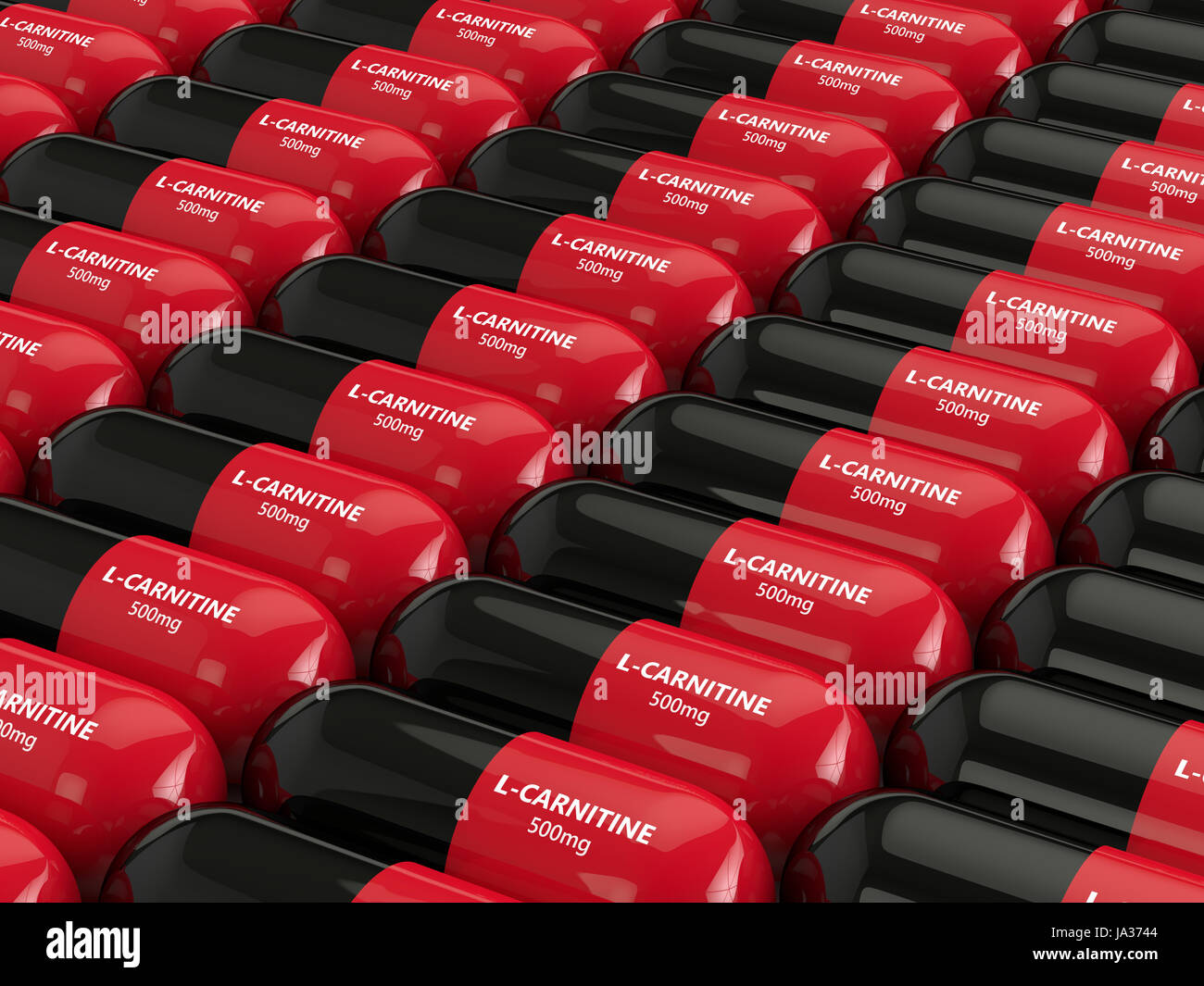 3D rendering of l-karnitine pills in row Stock Photo