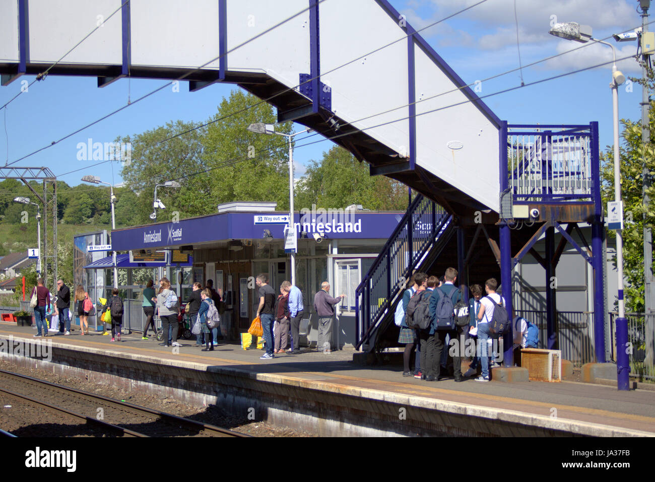 scotrail train station  station platform Annieslamd Glasgow - Stock Image