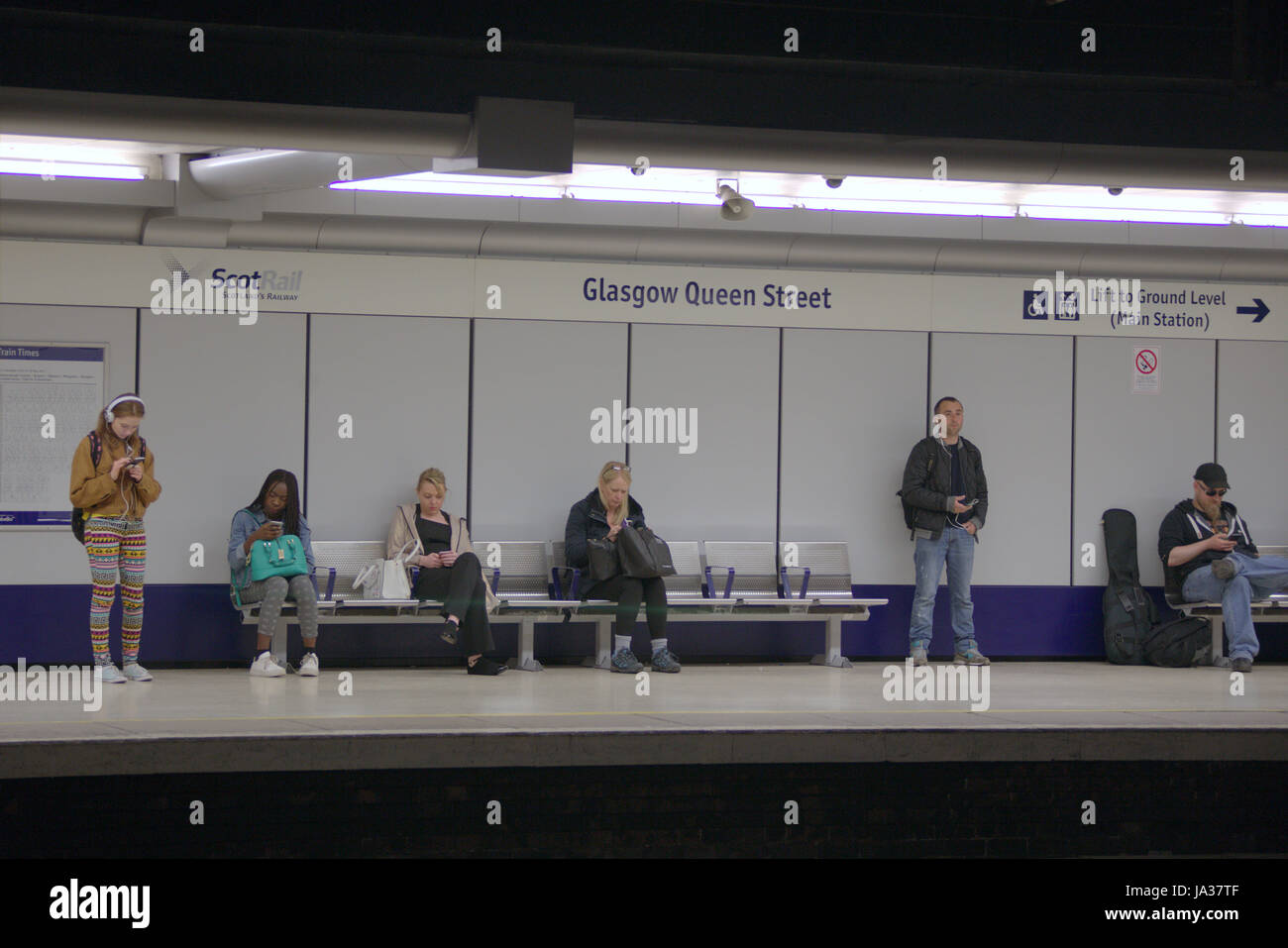 scotrail train station  station platform Glasgow Queen Street low level - Stock Image