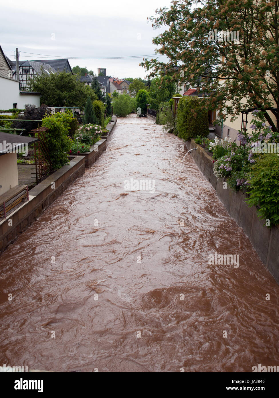 stream, flood, catastrophe, climate, century, climate change, river, water, - Stock Image