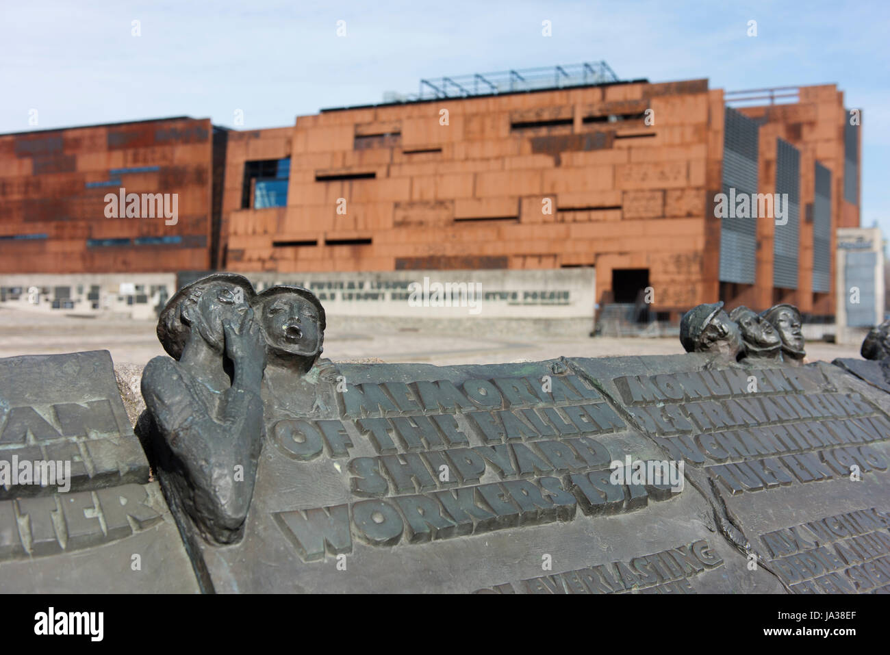 Monument to the Fallen Shipyard Workers of 1970 is to those who lost their lives during the Coastal Cities Events. - Stock Image