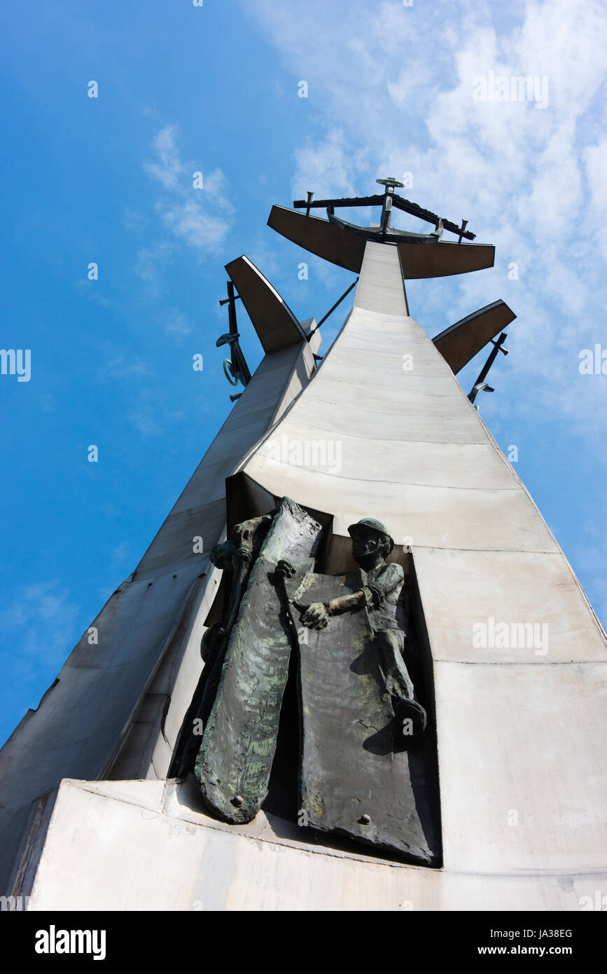 Upward view of the Monument to the Fallen Shipyard Workers of 1970, unveiled in 1980.  It remembers workers who - Stock Image