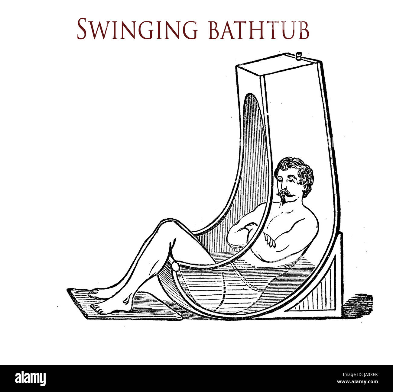 Swinging bathtub for wave bath - sitting, , vintage illustration - Stock Image