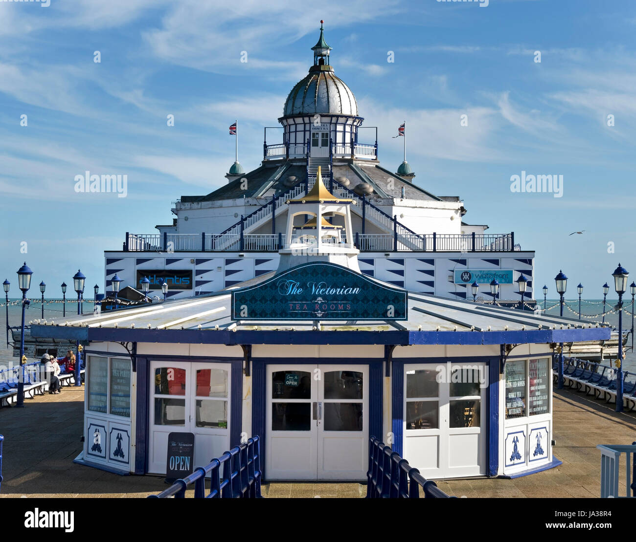 The Victorian Tearooms cafe restaurant with Camera Obscura beyond, Eastbourne Pier, East Sussex, England, UK Stock Photo