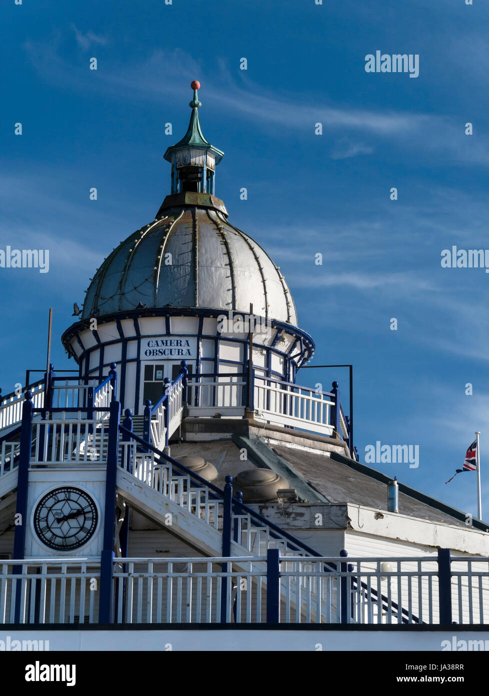 Ornate domed cupola and zinc roof with finial of the Camera Obscura, Eastbourne Pier, East Sussex, England, UK. Stock Photo