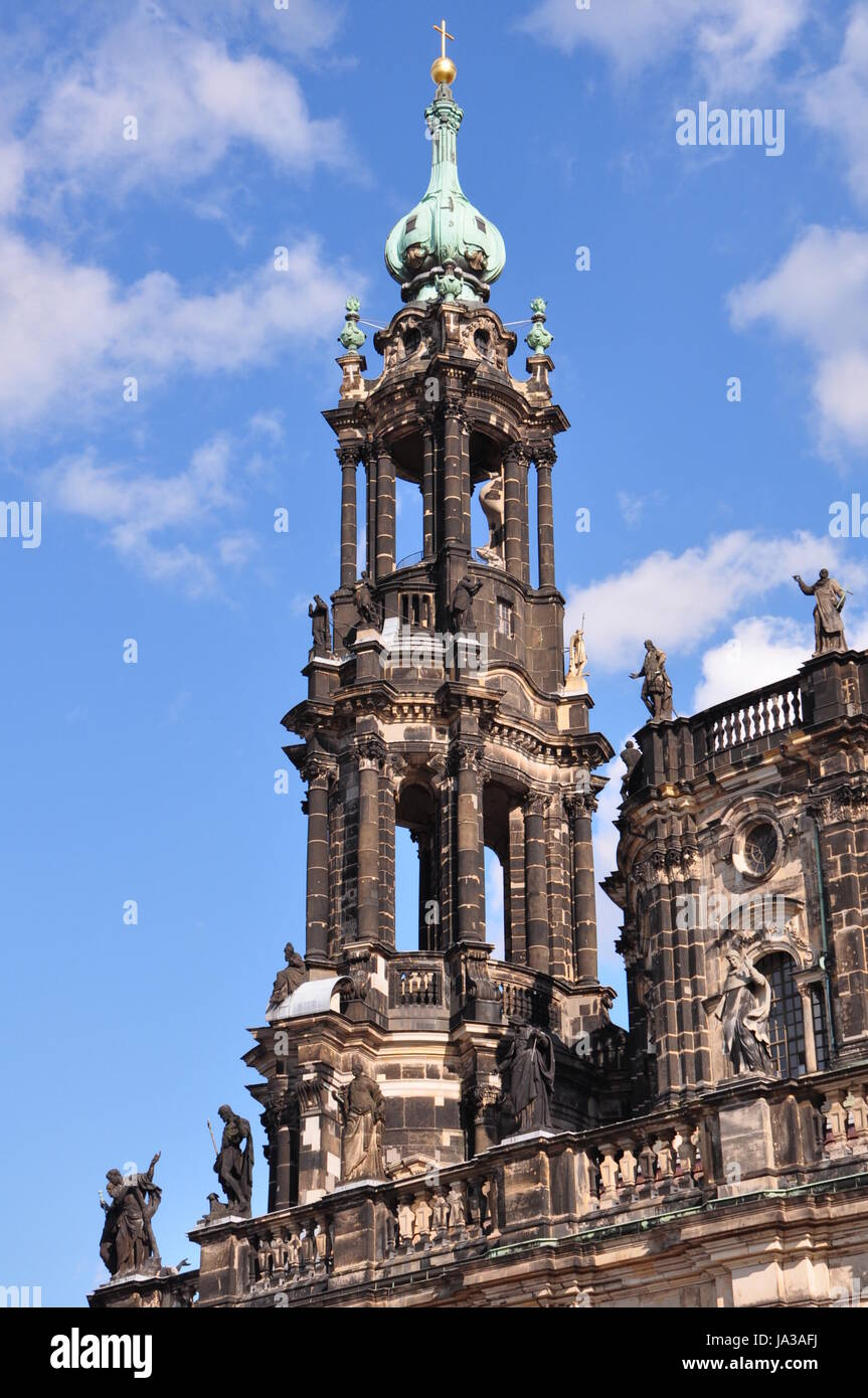 cathedral, Dresden, chapel of a palace, saint, trinity, bishopric, tower, - Stock Image