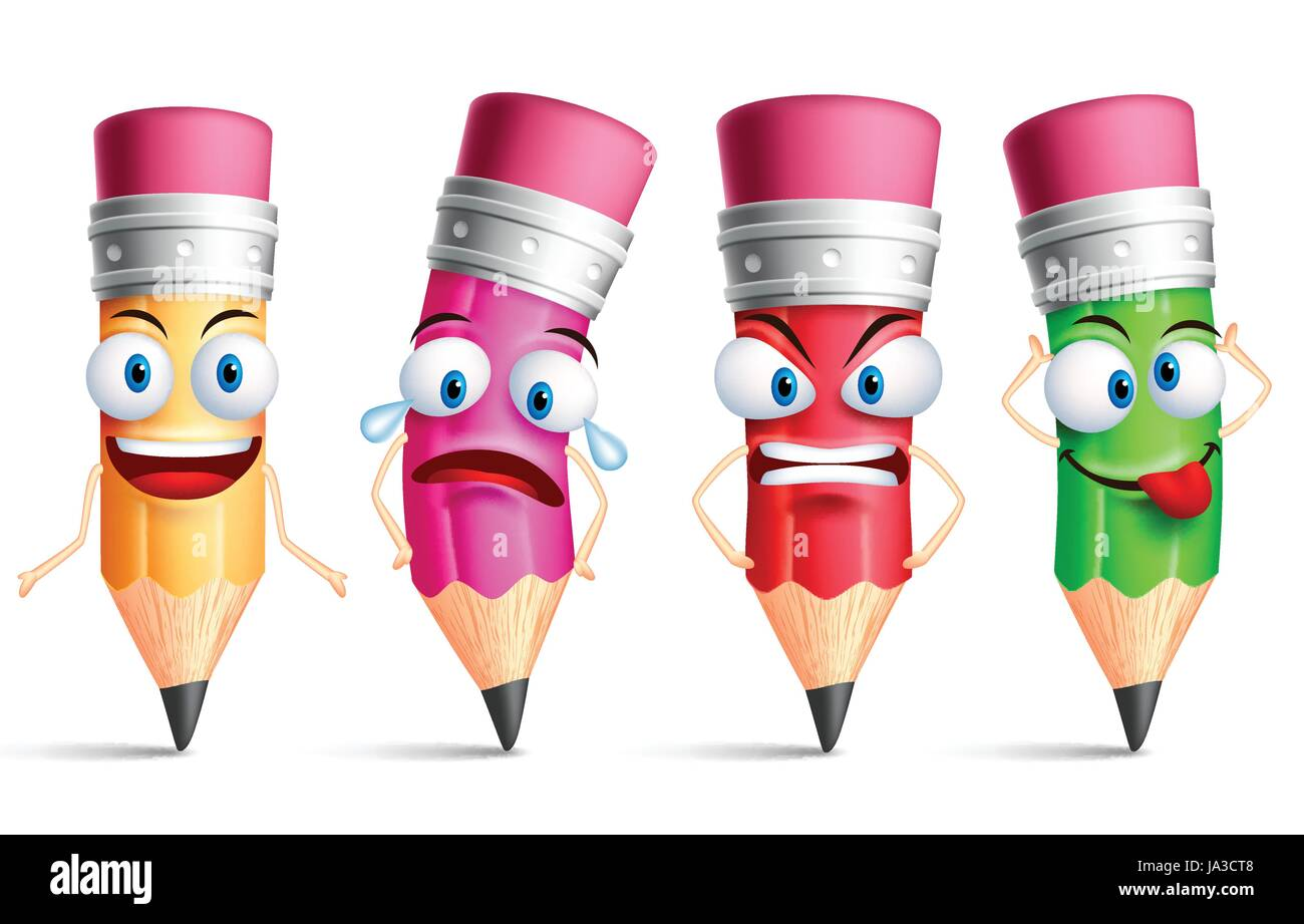 Vector pencil character or mascot colorful set with facial expressions emotions and hand gestures isolated in white background vector illustration