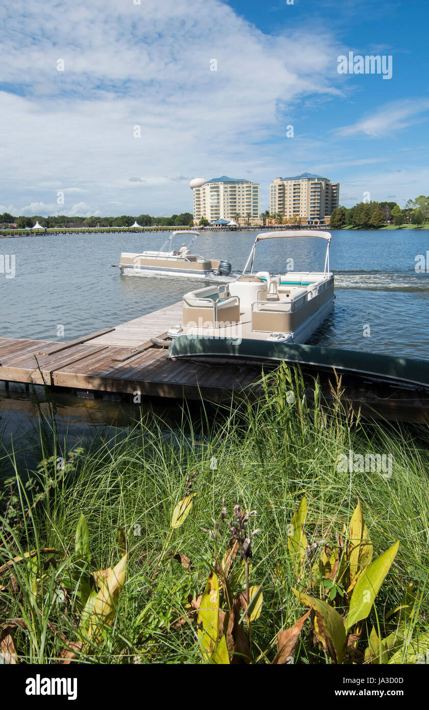 Altamonte Springs Florida lake and boats at Cranes Roast Uptown area in shops and mall, Stock Photo