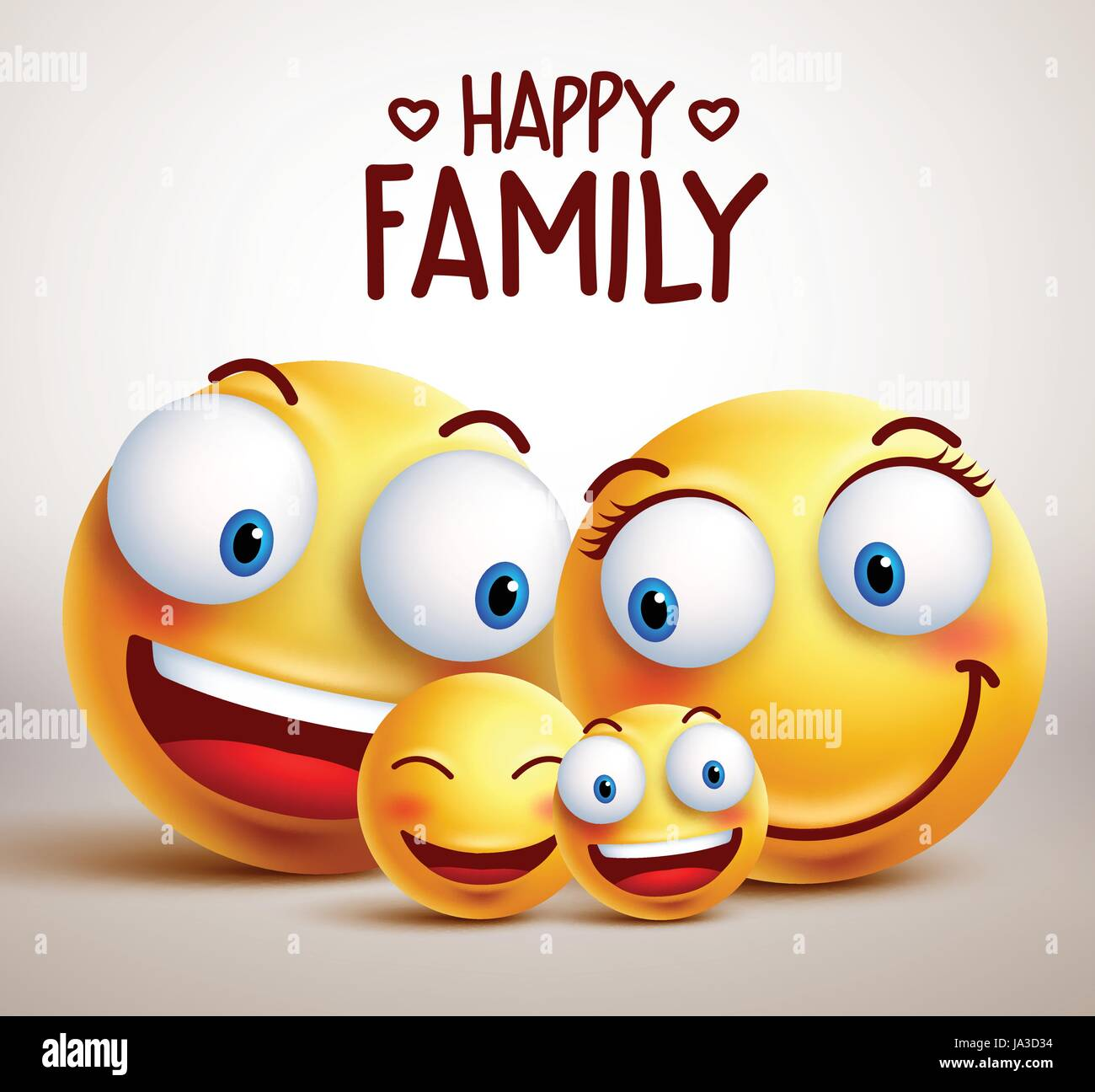 Happy family smiley face vector characters with father