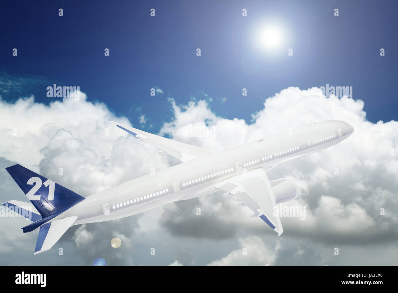 Aircraft is flying in blue cloudy sky - Stock Image