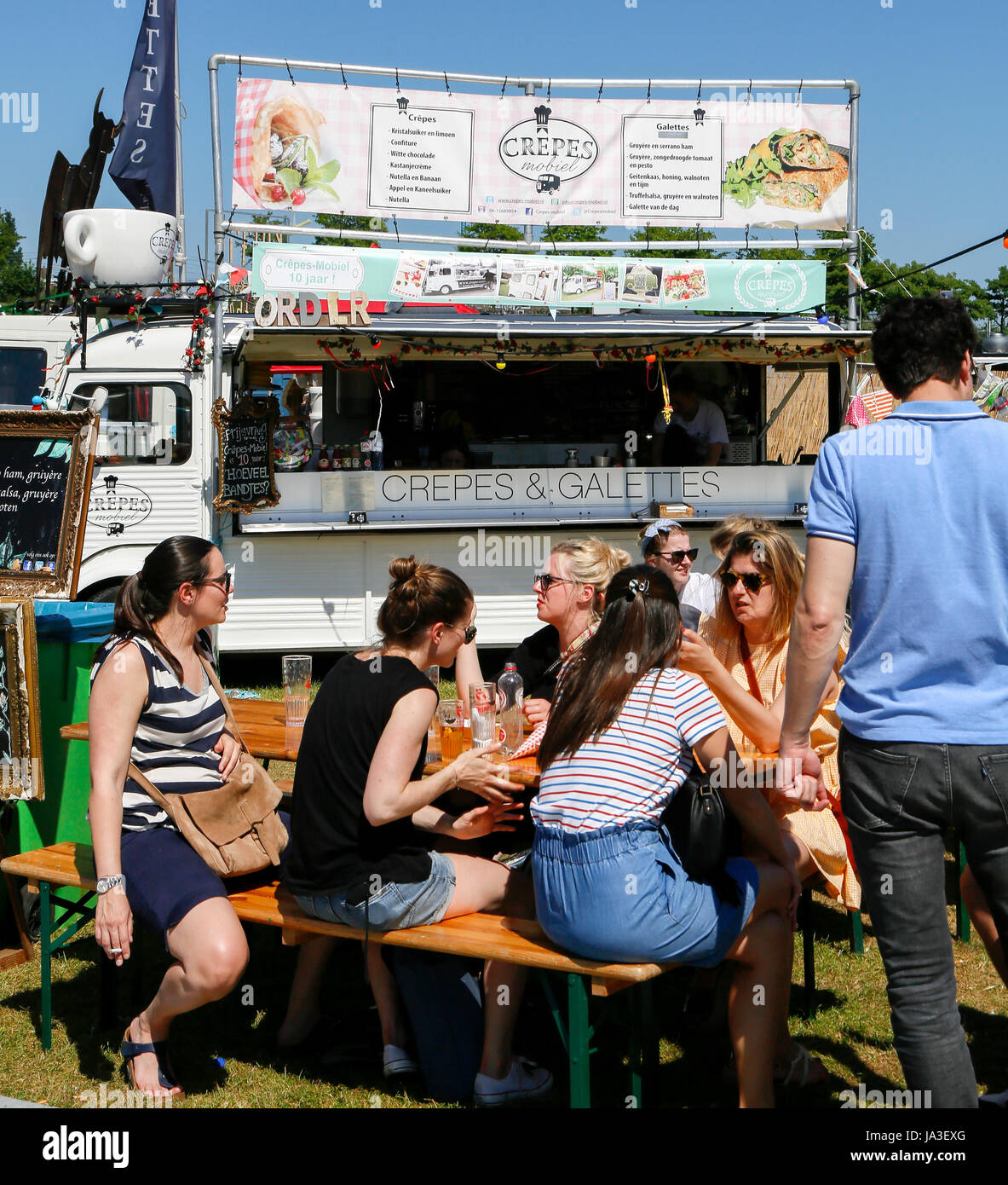 Crepes Mobile with crepes at Food Festival The Rolling Kitchens at the Westergasfabriek near the Westerpark in Amsterdam, - Stock Image