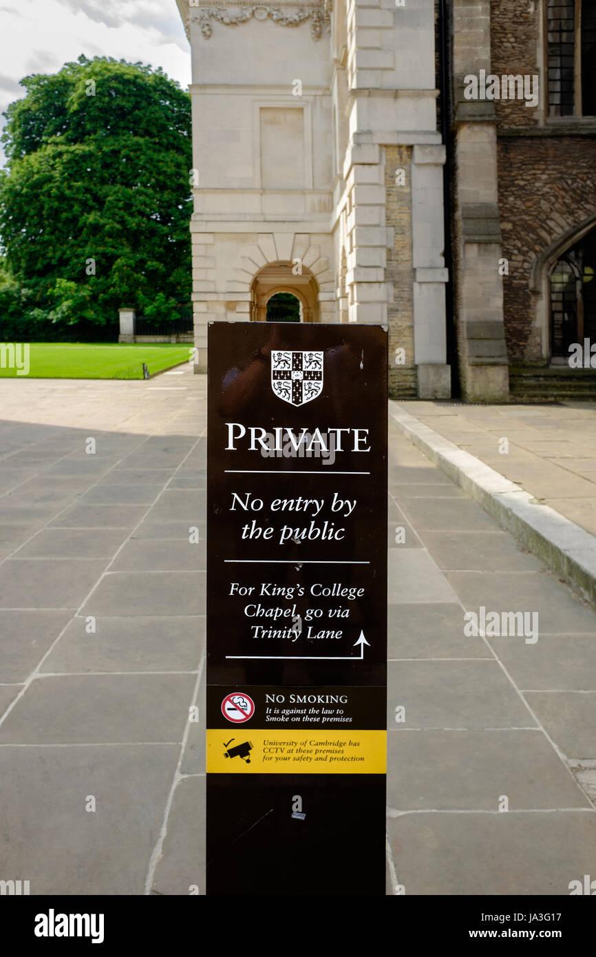 Notice outside Senate House, university of Cambridge, England. - Stock Image