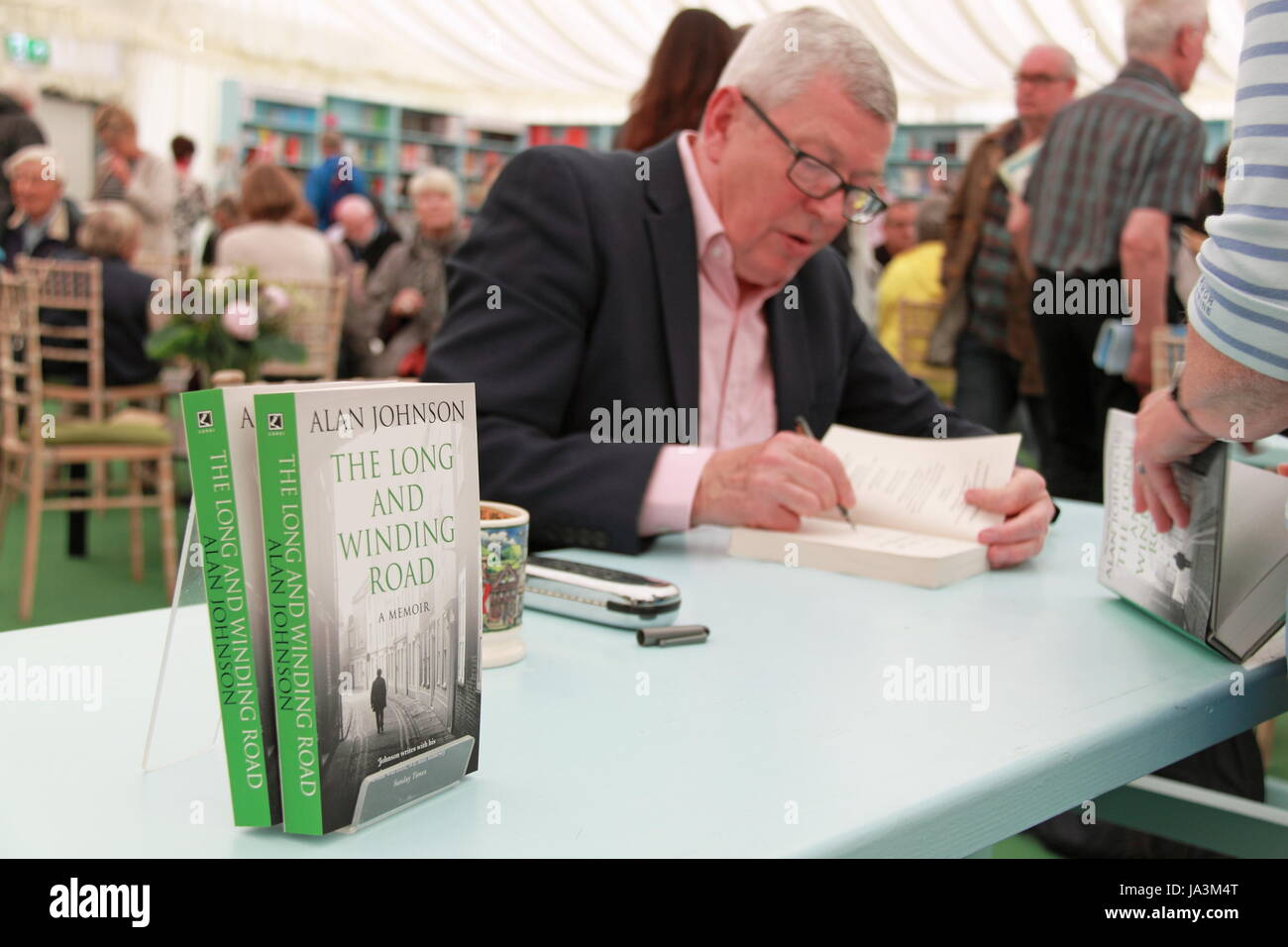 Alan Johnson book signing, Festival Bookshop, Hay Festival 2017, Hay-on-Wye, Brecknockshire, Powys, Wales, Great - Stock Image