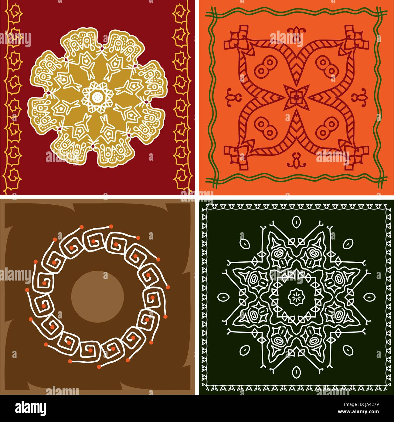 Folk Tribal Design Motif Wall Painting Vector Art Stock Vector
