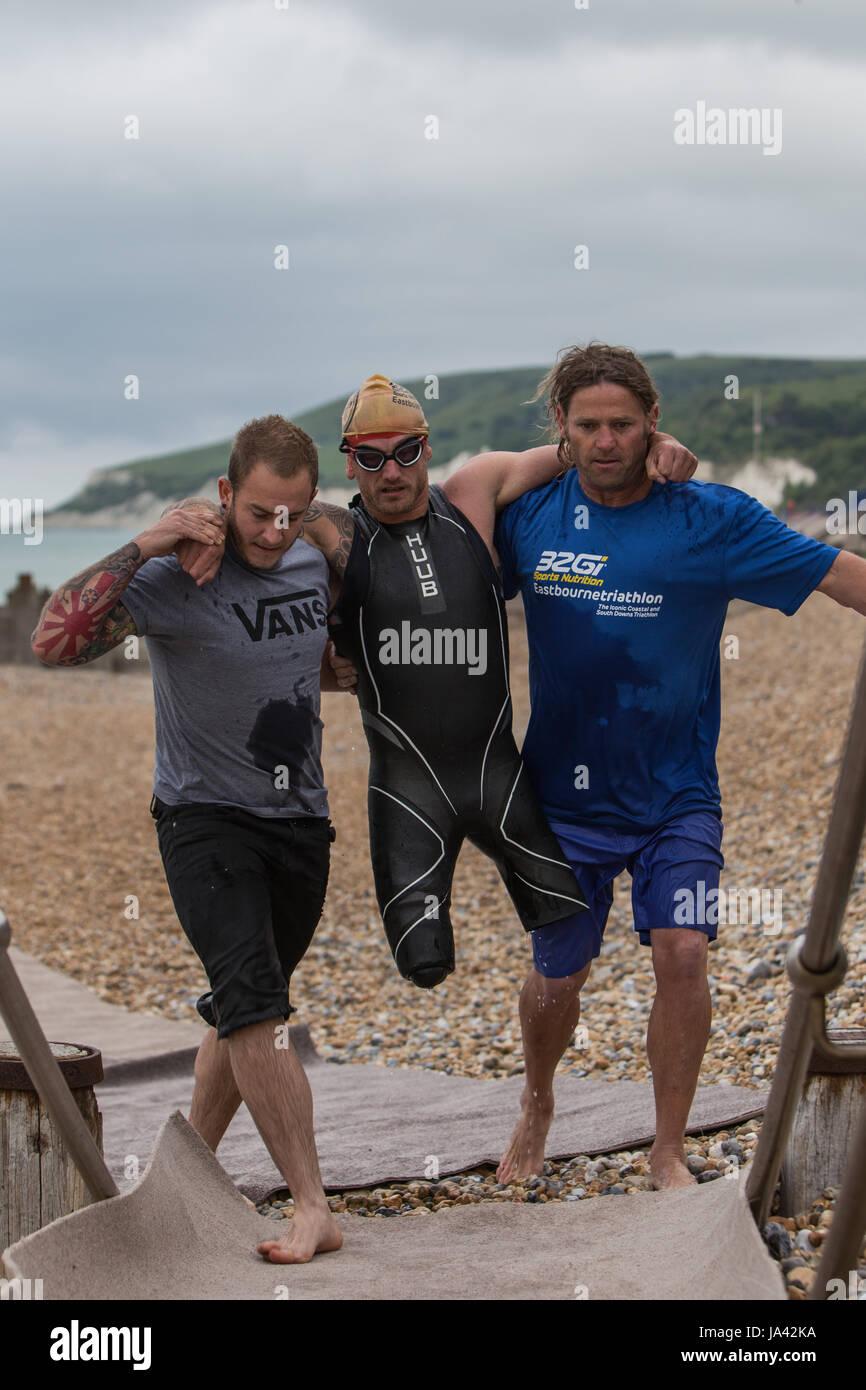 Joe Townsend at the 32Gi Eastbourne Triathlon - Stock Image