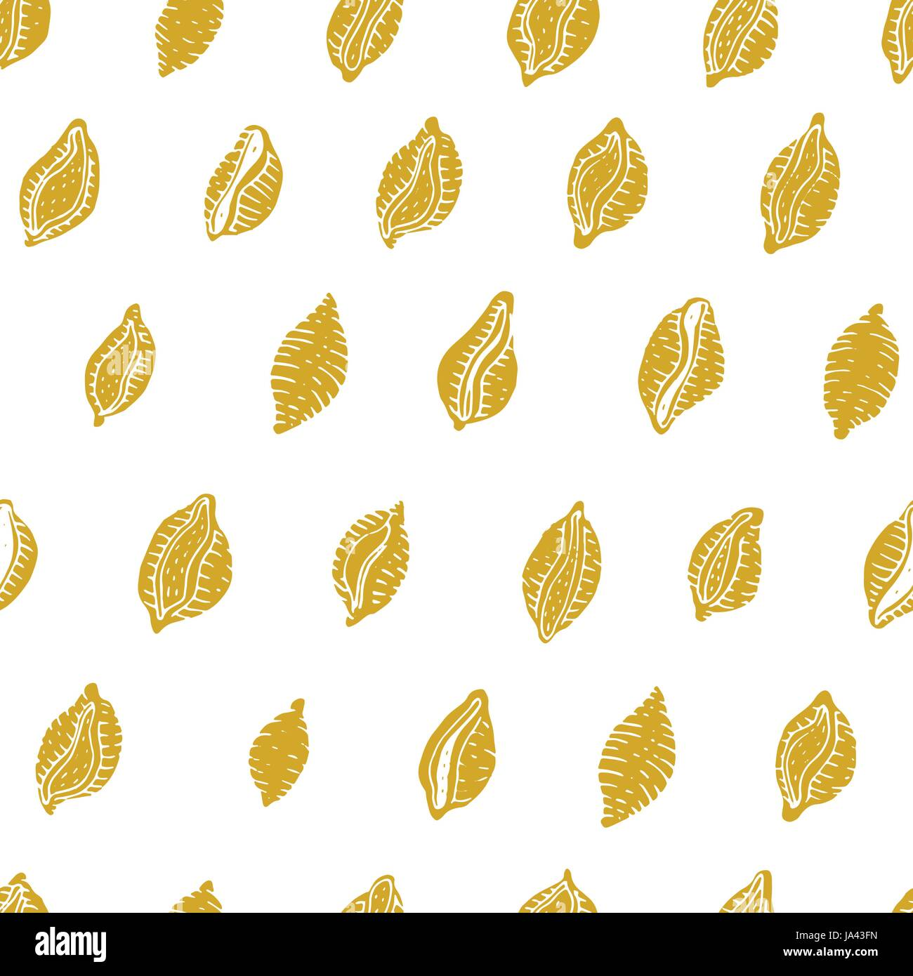 Vector seamless pattern with Italian pasta. Conchiglie hand drawn background. Can be use for menu, label, packaging. Stock Vector